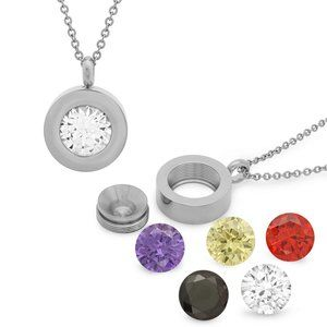Stainless Steel CZ Pendant necklace  5 in 1 NWT